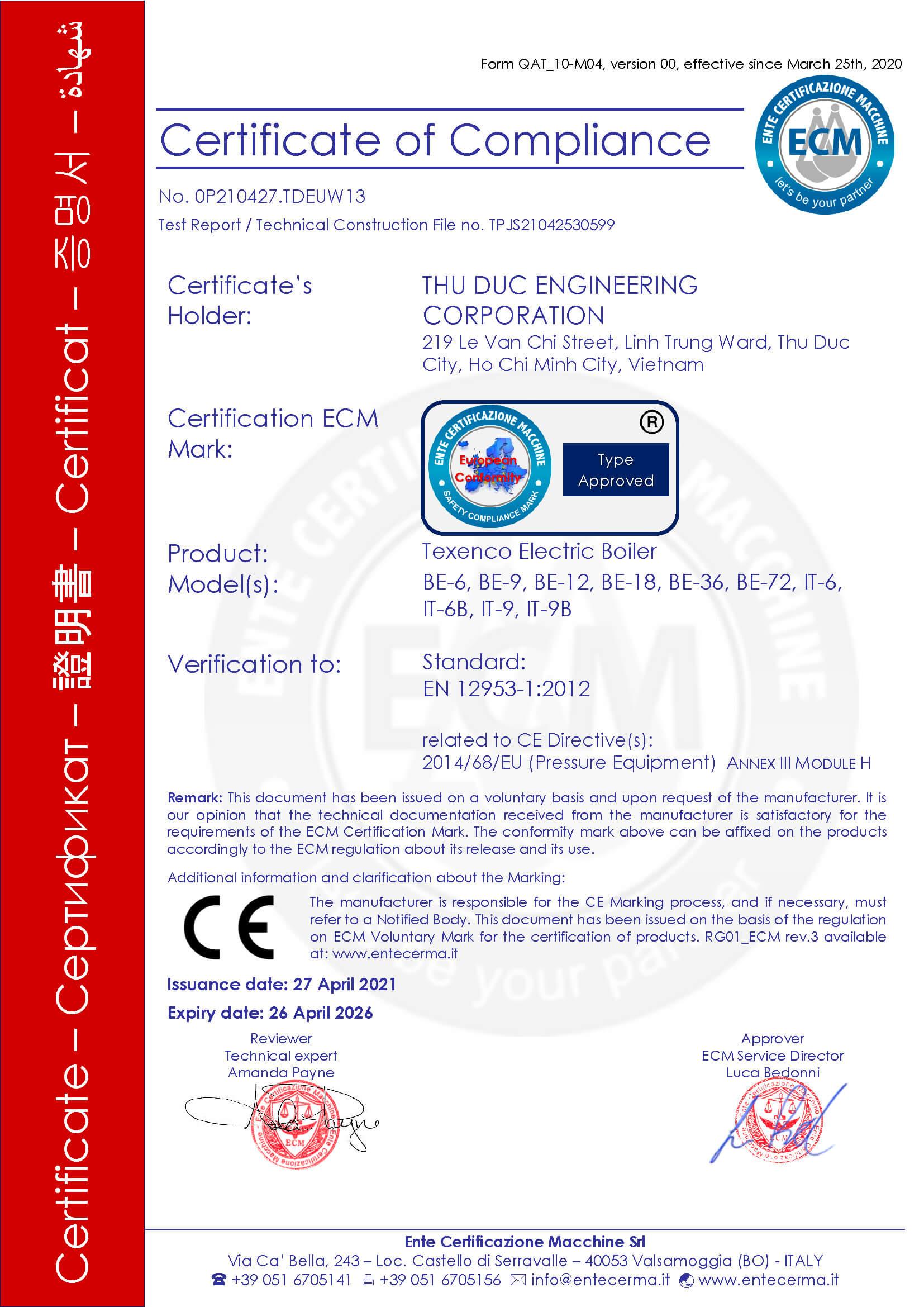 Công ty Cổ Phần Cơ khí Thủ Đức TEXENCO đạt chứng nhận CE marking