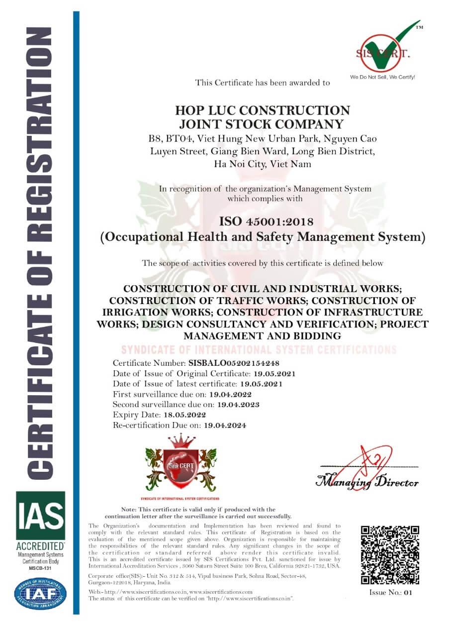 Công Ty Cổ Phần Xây Dựng Hợp Lực đạt giấy chứng nhận ISO 45001:2018