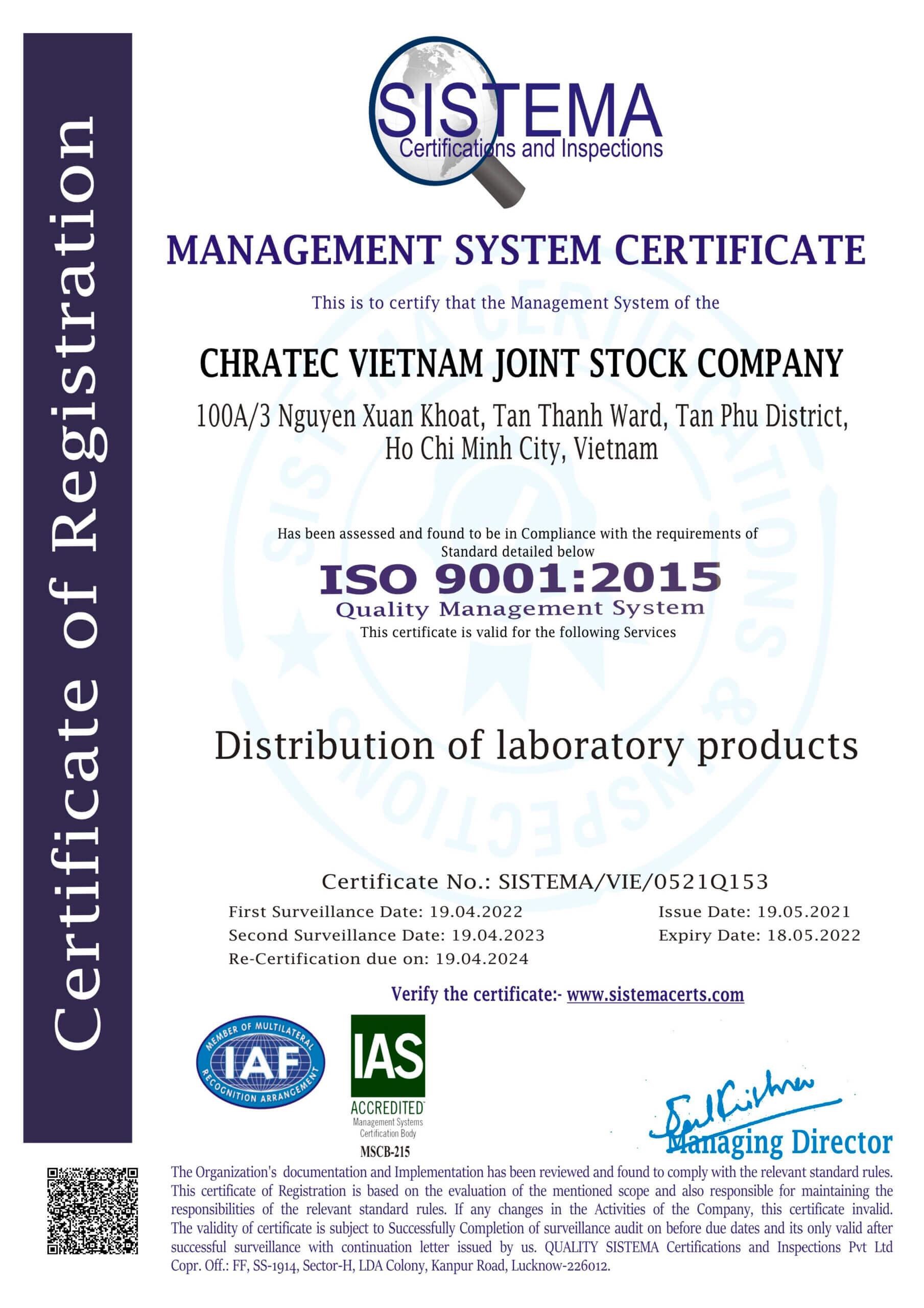 CÔNG TY CỔ PHẦN CHRATEC VIỆT NAM đạt giấy chứng nhận ISO 9001:2015