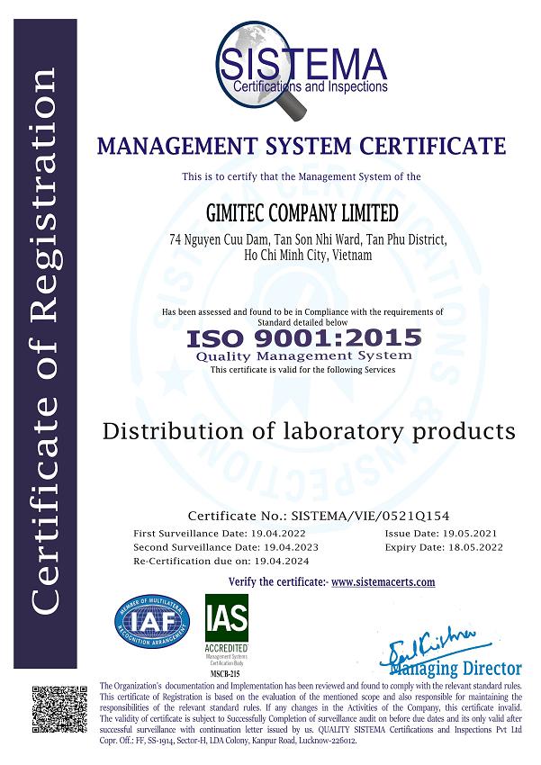 CÔNG TY TNHH GIMITEC đạt giấy chứng nhận ISO 9001:2015