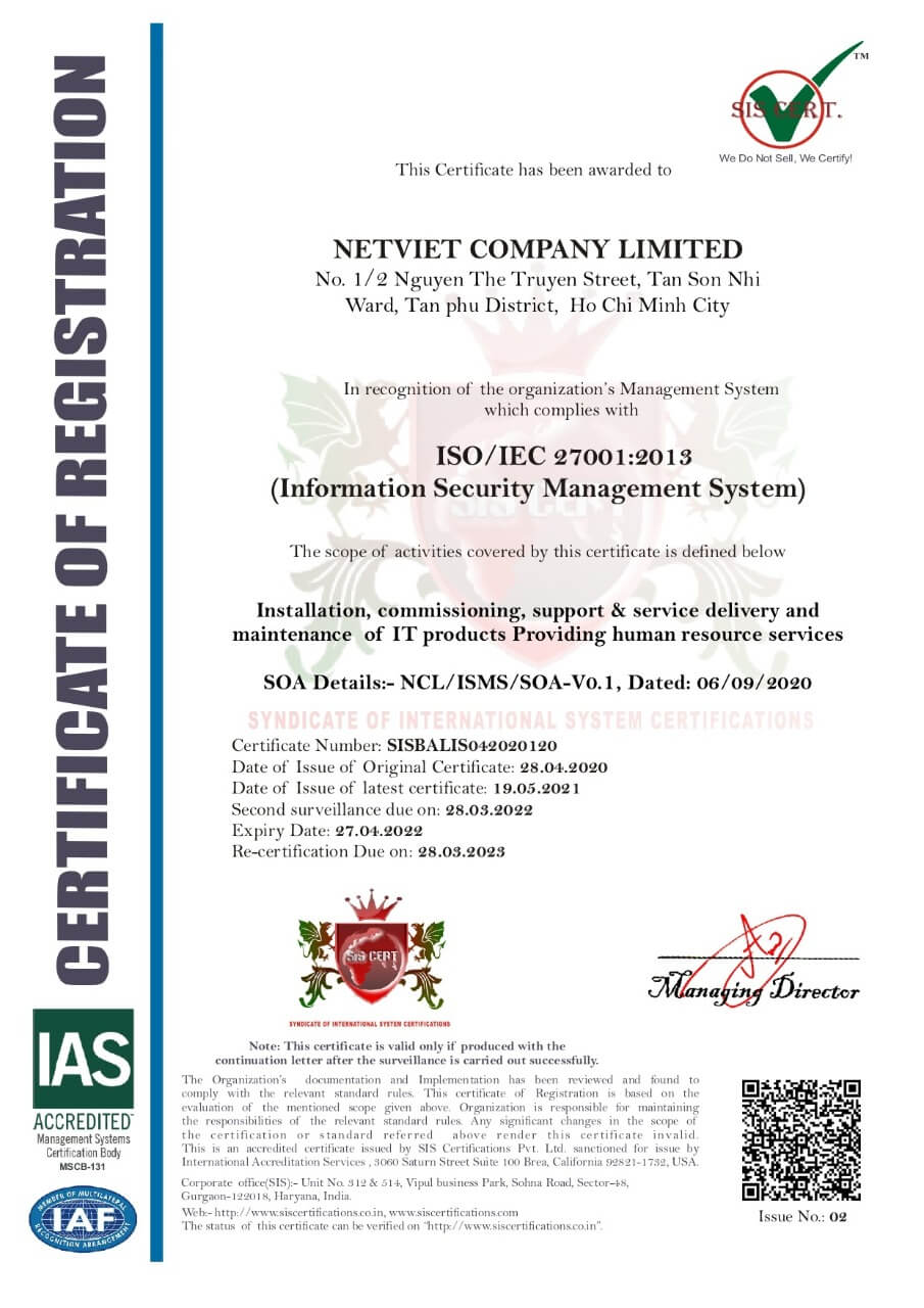 CÔNG TY TNHH NÉT VIỆT đạt giấy chứng nhận ISO/IEC 27001:2013