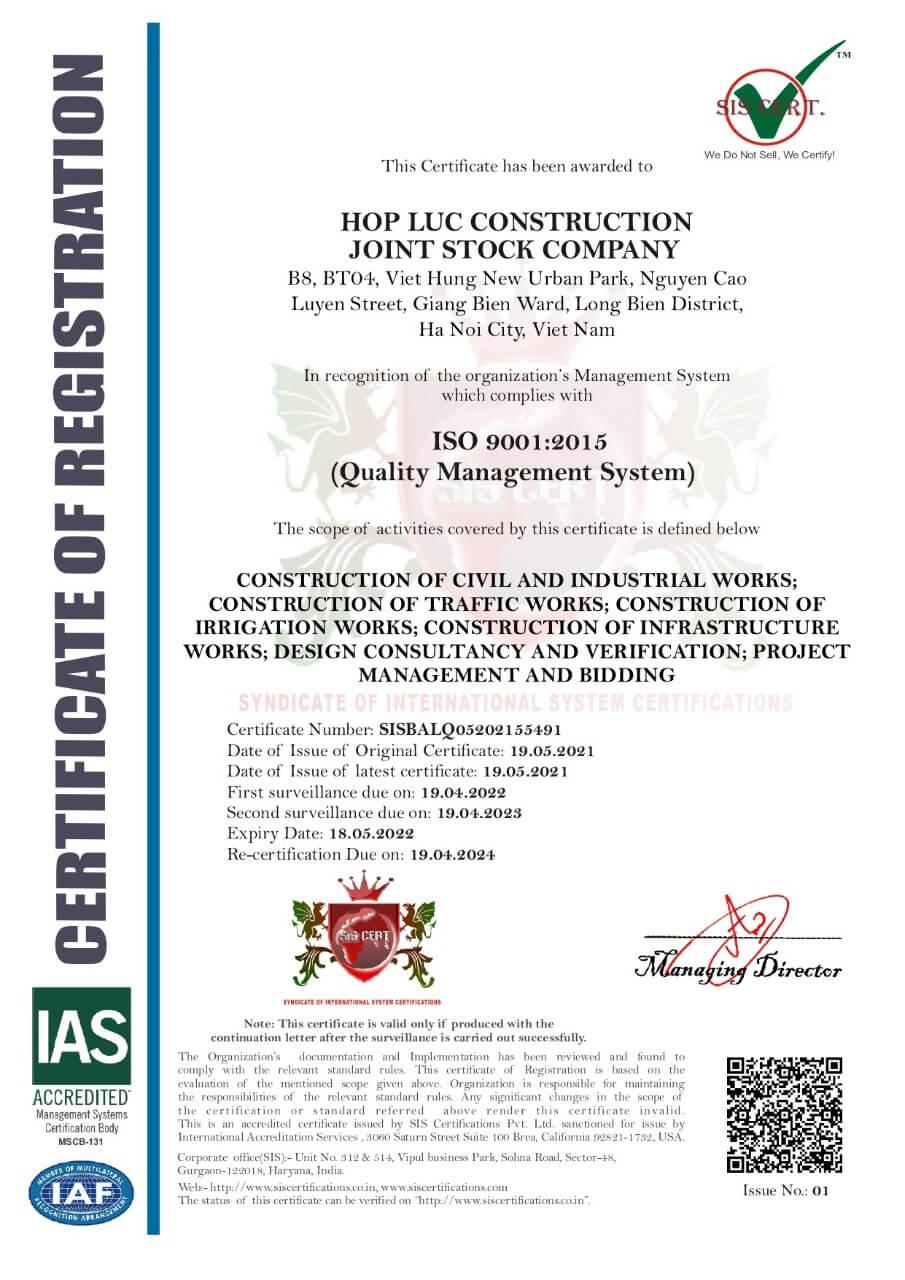 Công Ty Cổ Phần Xây Dựng Hợp Lực đạt giấy chứng nhận ISO 9001:2015