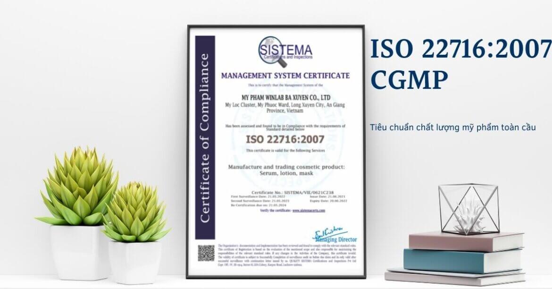 Công Ty TNHH Mỹ Phẩm WINLAB đạt giấy chứng nhận ISO 22716:2007
