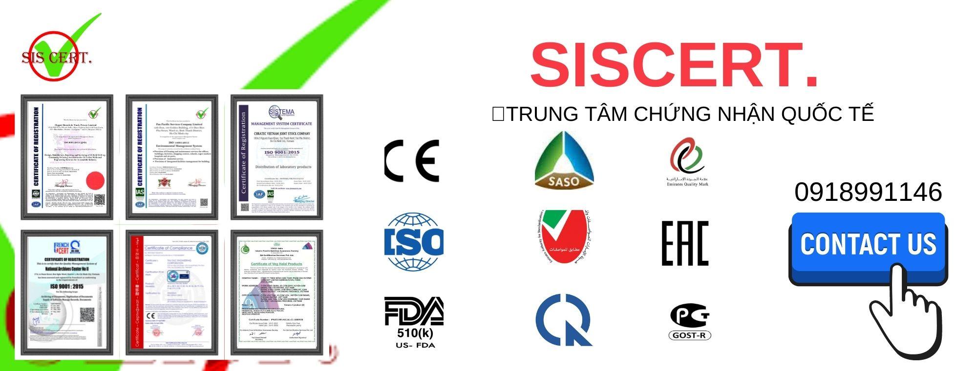 Chứng nhận ISO, CE, FDA,