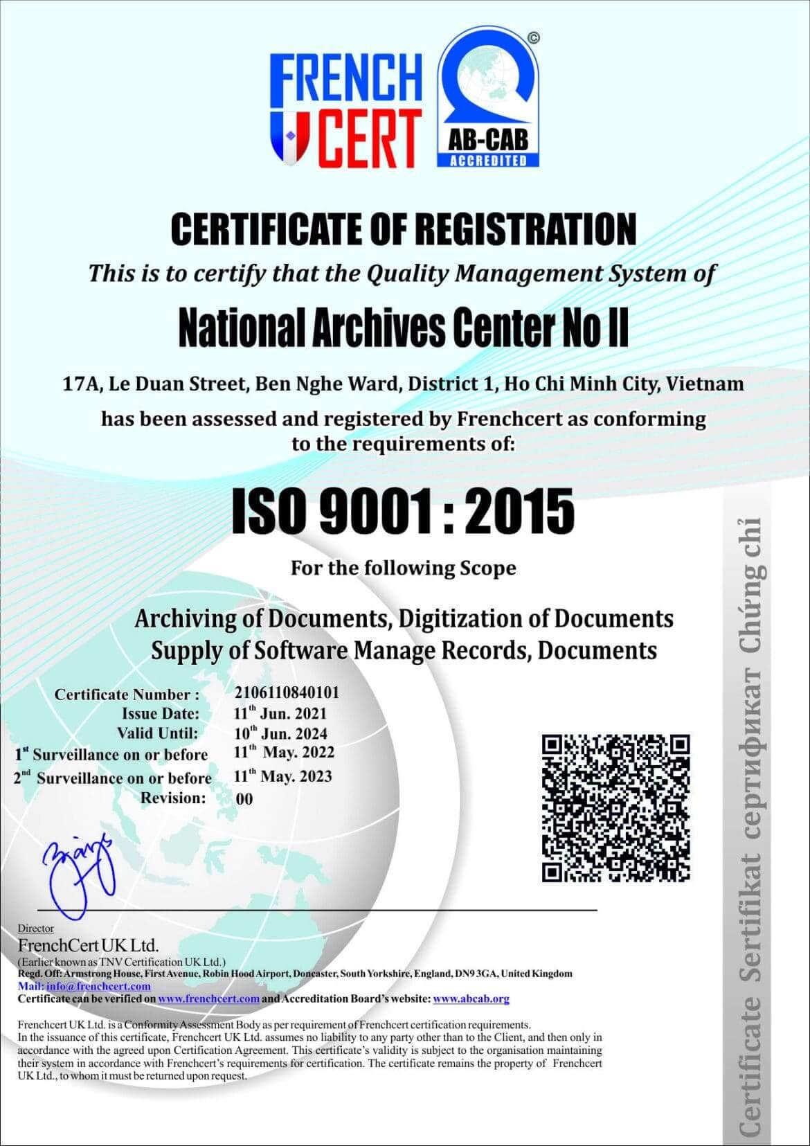 Trung tâm lưu trữ quốc gia II đạt giấy chứng nhận ISO 9001:2015