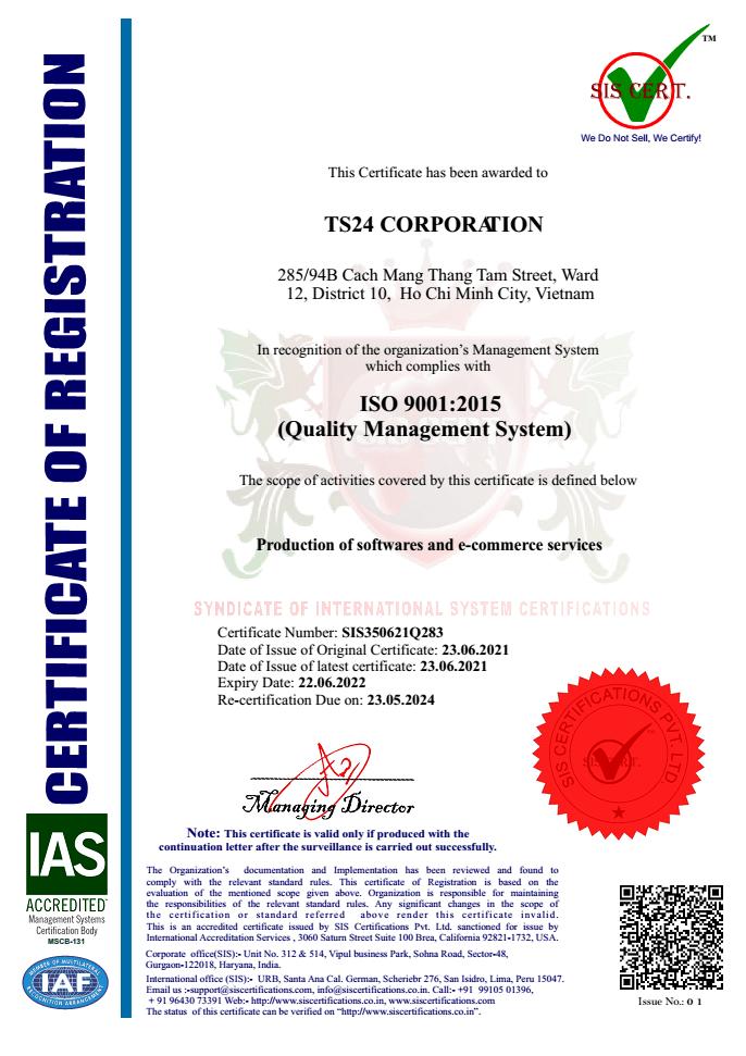 Chứng nhận ISO 9001 của công ty cổ phần TS 24