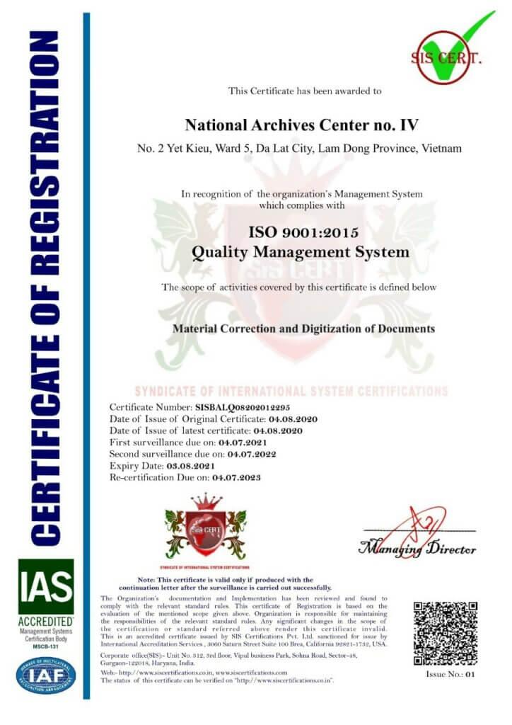 Giấy chứng nhận ISO 9001