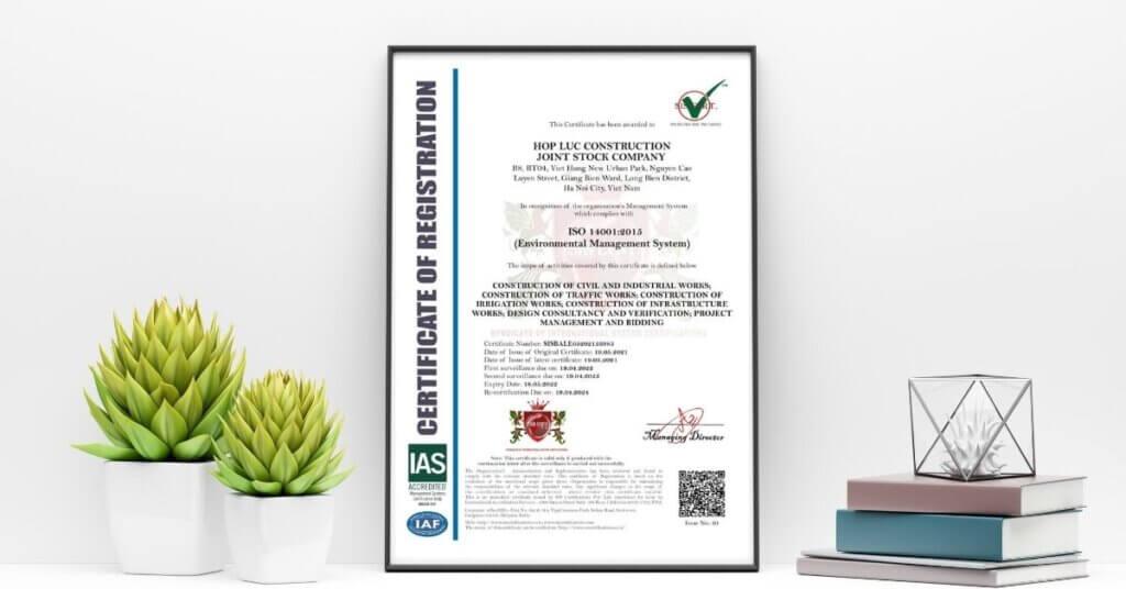 Mẫu chứng chỉ ISO 14001:2015