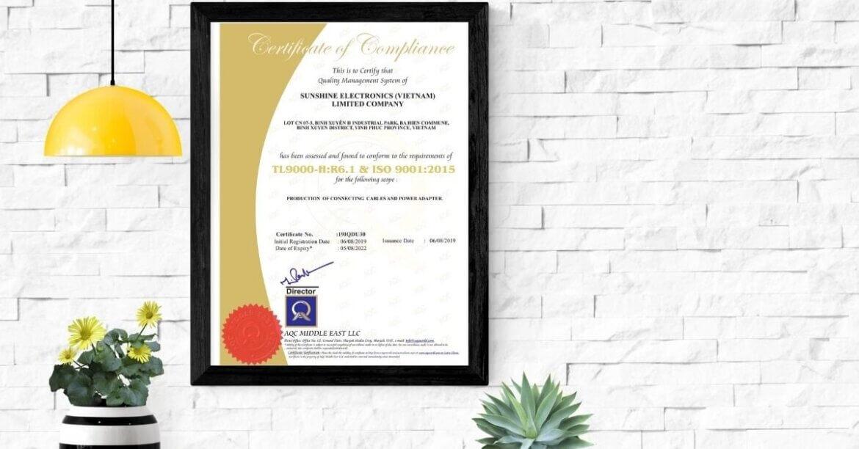 CÔNG TY TNHH SUNSHINE ELECTRONICS (VIETNAM) ĐẠT GIẤY CHỨNG NHẬN ISO 9001:2015 VÀ TL 9000:2016