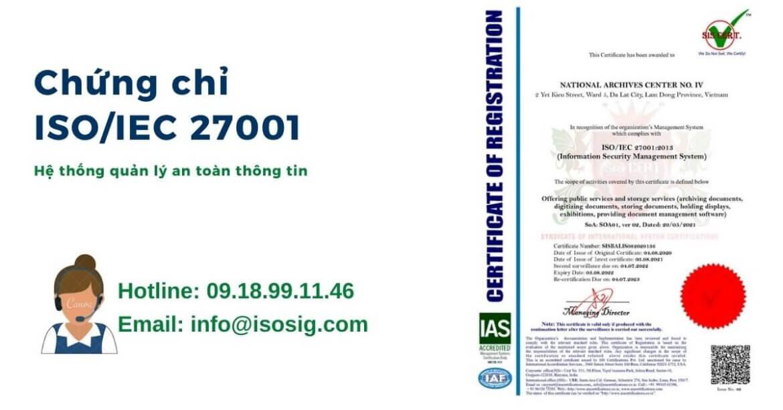 Trung tâm Lưu trữ quốc gia IV đạt giấy chứng nhận ISO 9001:2015, ISO 14001:2015, ISO 45001:2018 và ISO/IEC 27001:2013