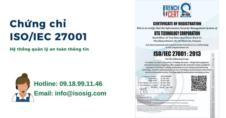 CÔNG TY CỔ PHẦN CÔNG NGHỆ DTG đạt giấy chứng nhận ISO/IEC 27001:2013