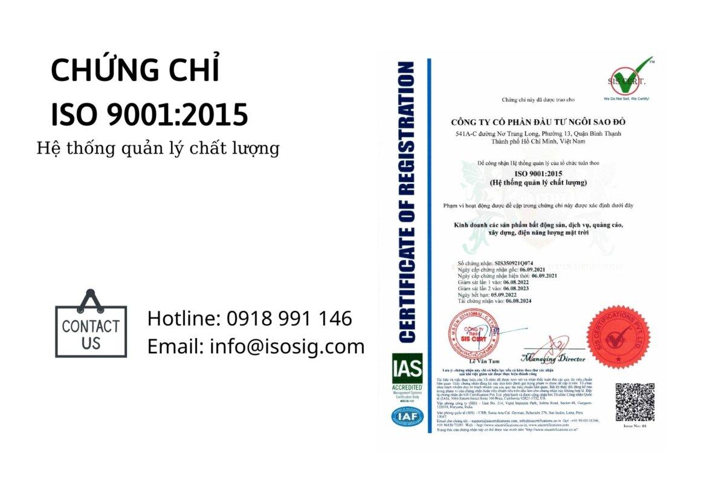 CÔNG TY CỔ PHẦN ĐẦU TƯ NGÔI SAO ĐỎ đạt giấy chứng nhận ISO 9001:2015
