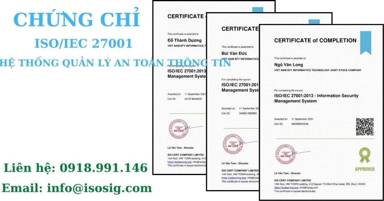 SIS CERT THỰC HIỆN ĐÀO TẠO ISO/IEC 27001:2013 CHO CÔNG TY CỔ PHẦN CÔNG NGHỆ TIN HỌC EFY VIỆT NAM