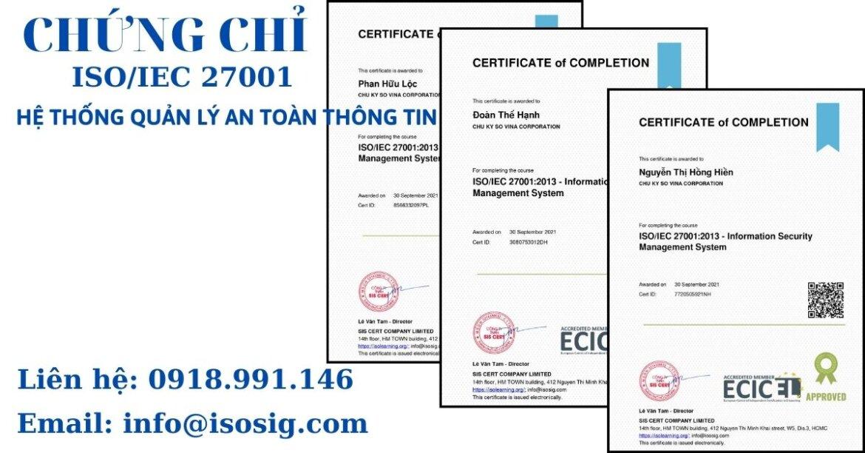 SIS CERT THỰC HIỆN ĐÀO TẠO ISO/IEC 27001:2013 CHO CÔNG TY CỔ PHẦN CHỮ KÝ SỐ VI NA