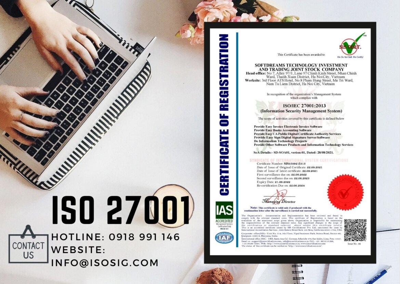 CÔNG TY CỔ PHẦN ĐẦU TƯ CÔNG NGHỆ VÀ THƯƠNG MẠI SOFTDREAM đạt giấy chứng nhận ISO/IEC 27001:2013